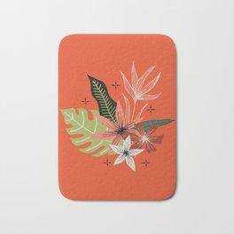 tropical bouquet on orange Bath Mat