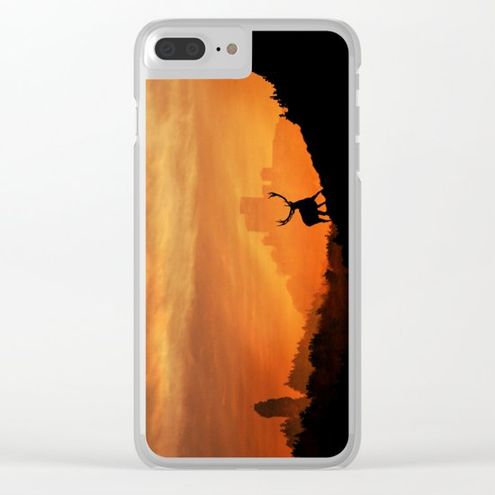 Deer in a mystical landscape Clear iPhone Case