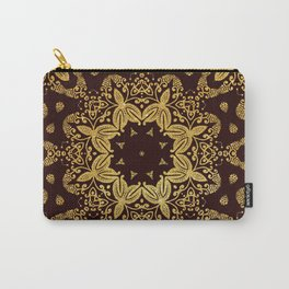 golden flowers on the brown background Carry-All Pouch