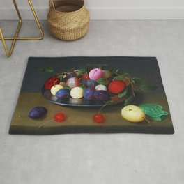Still Life of Summer Plums on a Plate by Jacob van Hulsdonck Rug