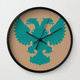double-headed eagle on brown background Wall Clock