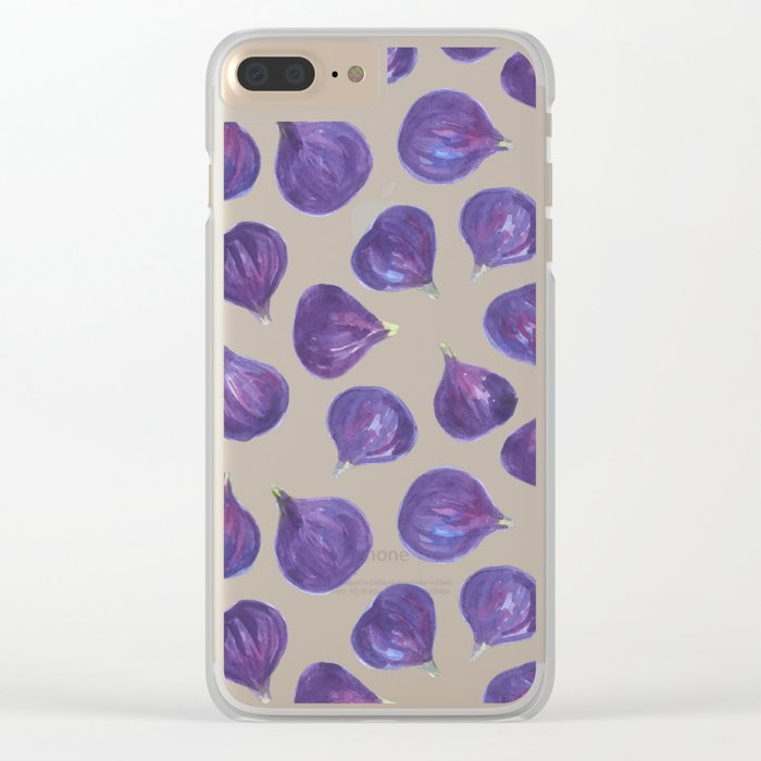 Watercolor figs pattern Clear iPhone Case