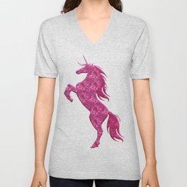 Pink Magical Unicorn Unisex V-Neck
