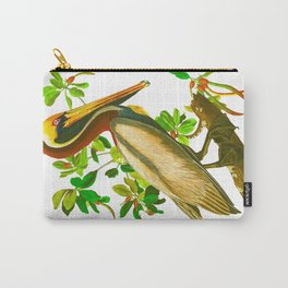 Brown Pelican Vintage Illustration Carry-All Pouch