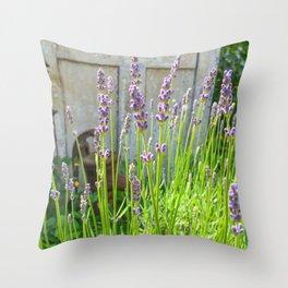 Blooming Garden Lavender Throw Pillow