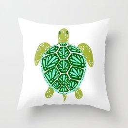 Sea Turtle – Green Palette Throw Pillow