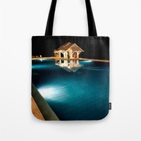 bar Tote Bags featuring Pool Bar by Adrian Evans