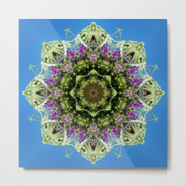 Intricate floral kaleidoscope - Vebena, Dichondra leaves with blue sky Metal Print