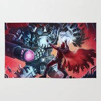 magneto Area & Throw Rugs featuring Magneto vs Megatron by Larrydraws
