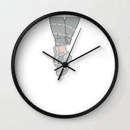 Grey Stripey Shoes Wall Clock