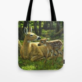 Whitetail Deer and Cute Spring Fawn Tote Bag