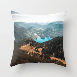 Mountains and lake Throw Pillow