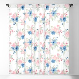 Blush Pink and Navy Watercolor Florals Blackout Curtain