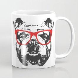 Portrait of English Bulldog with glasses. Coffee Mug