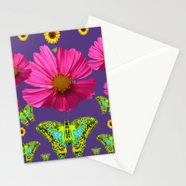 FUCHSIA COSMO FLORALS GREEN MOTHS SUNFLOWERS Stationery Cards