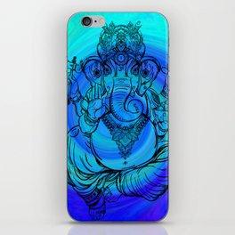Lord Ganesha on Blue Spiral iPhone Skin