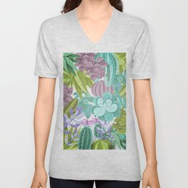 Tropical Cactus Pattern Unisex V-Neck