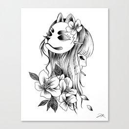 Smoking Kitsune Canvas Print