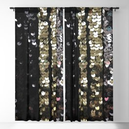 Sequins in Black, Gold and Silver Blackout Curtain