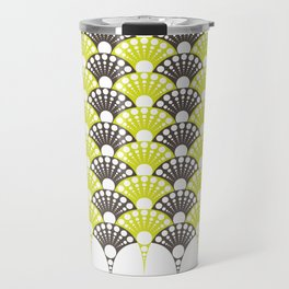 brown and lime art deco inspired fan pattern Travel Mug