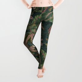 Antique french exotic botanical collage_Bloomartgallery Leggings
