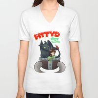 hiccup V-neck T-shirts featuring Hiccup and Toothless in a Helmet by snowrunt