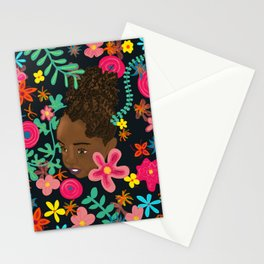 Beautiful black girl adorned with flowers Stationery Cards