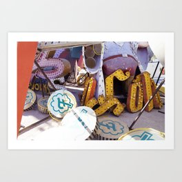 Broken Down Signs, Lights, and Colours in Las Vegas Art Print