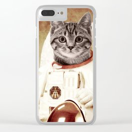 meow astronout Clear iPhone Case