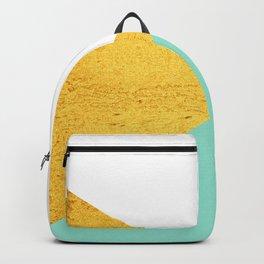 Gold & Aqua Blue Geometry Backpack