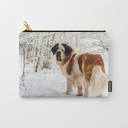 St Bernard dog in the snow Carry-All Pouch