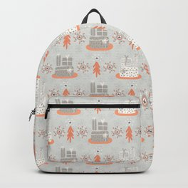 Wrapped Presents Under the Tree Grey and Orange Backpack