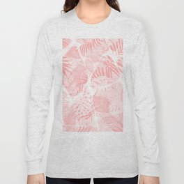 Abstract Soft Pink Tropical Design Long Sleeve T-shirt