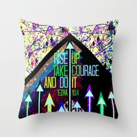 scripture Throw Pillows featuring RISE UP TAKE COURAGE AND DO IT Colorful Geometric Floral Abstract Painting Christian Bible Scripture by The Faithful Canvas
