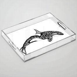 Orca - Hand drawn black and white Acrylic Tray