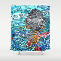 black swan Shower Curtains featuring Black Swan by Juliana Kroscen