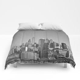 Black and White Philadelphia Skyline Comforters
