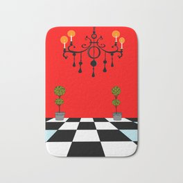 A Chandler with Topiary with Red wall paper Bath Mat