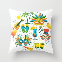 Colorful Brazilian Carnaval mandala Throw Pillow