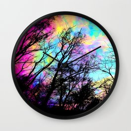 Black Trees Colorful space. Wall Clock