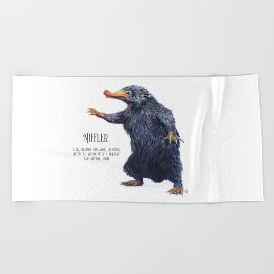 Niffler art Fantastic Beasts Beach Towel