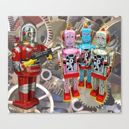 Astroman vs. The Robots Canvas Print