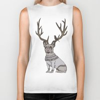 frenchie Biker Tanks featuring Deer Frenchie  by Huebucket