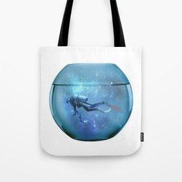 Diver in a fishbowl Tote Bag
