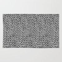 Hand Knit Grey Black Rug