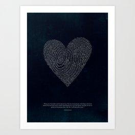 Coded heartprint - dark print Art Print