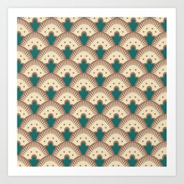 Fan Pattern Brown and Green 991 Art Print