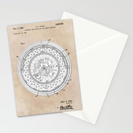 patent art Allen Universal time clock and hour angle indicator 1953 Stationery Cards