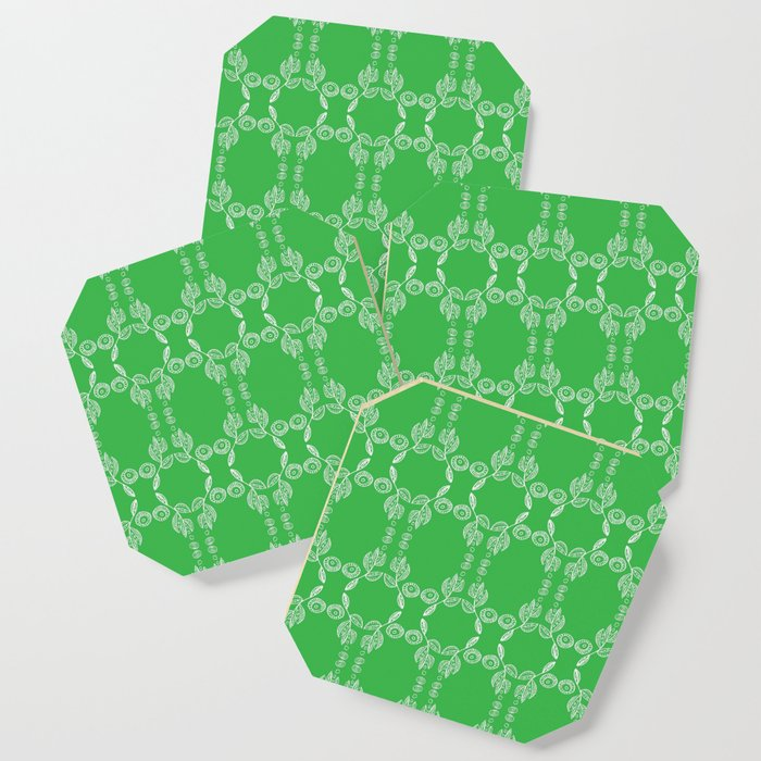 Hand drawn Seed Pods White on Spring Green Coaster