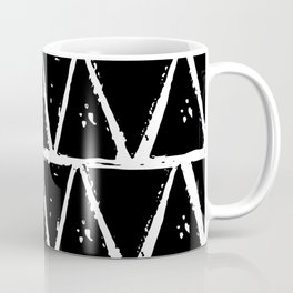 Simple Geometric Zig Zag Pattern- White on Black - Mix & Match with Simplicity of life Coffee Mug